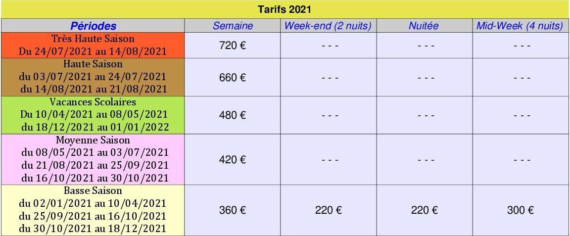Tarifs gitede Trément 2021